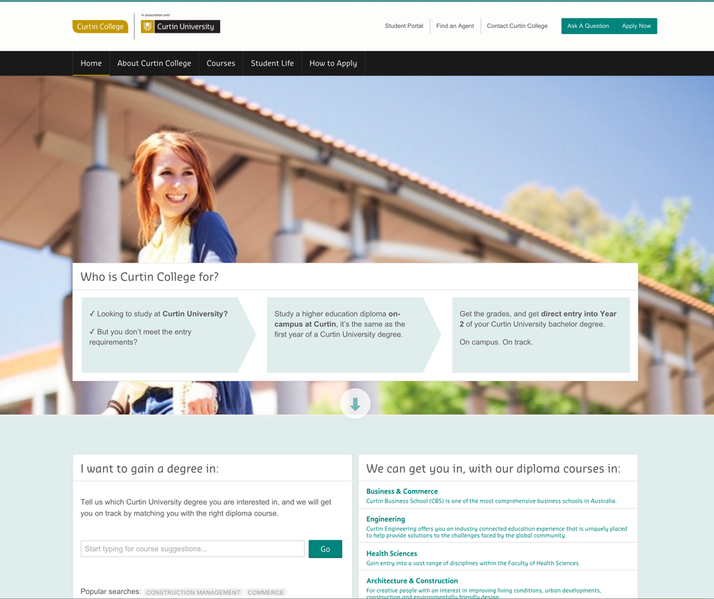 Curtin College Website