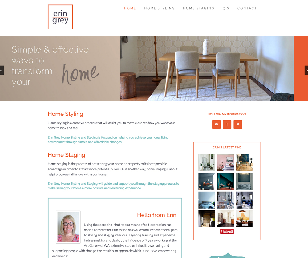 Erin Grey Home Staging and Styling Website Design
