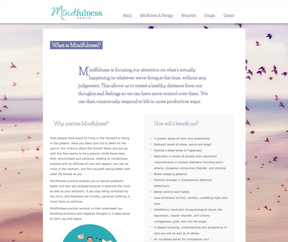 Mindfulness Perth Website Design