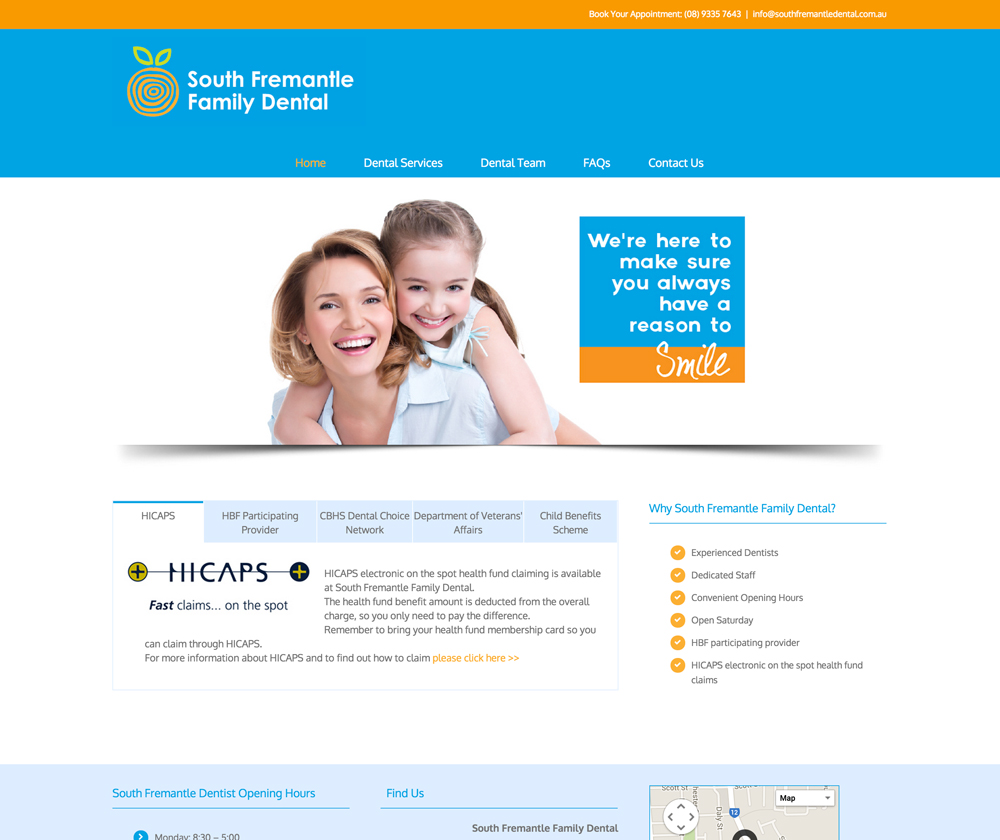 South Fremantle Family Dental Website Design