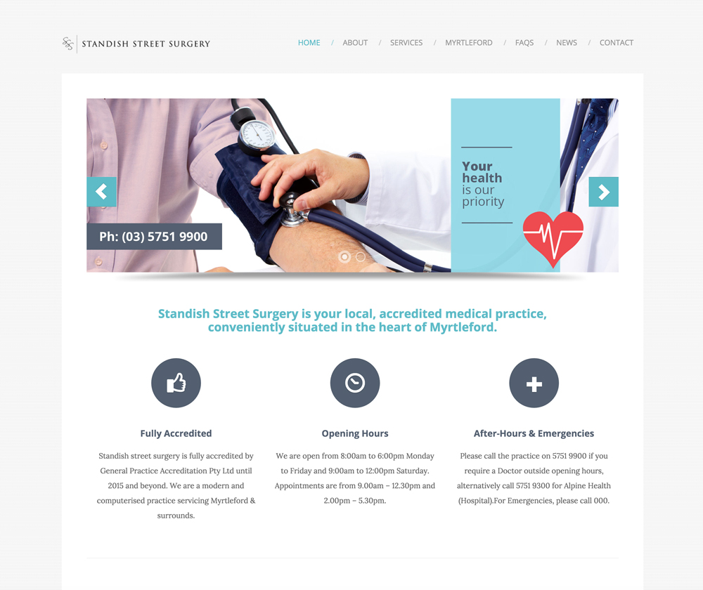 Standish St Surgery Web Design